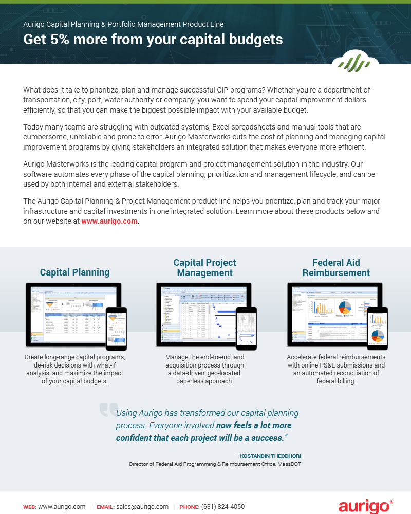 Aurigo Masterworks Capital Planning Portfolio Management datasheet
